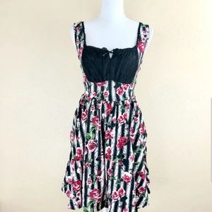 hot topic stripe and rose gothic corset dress